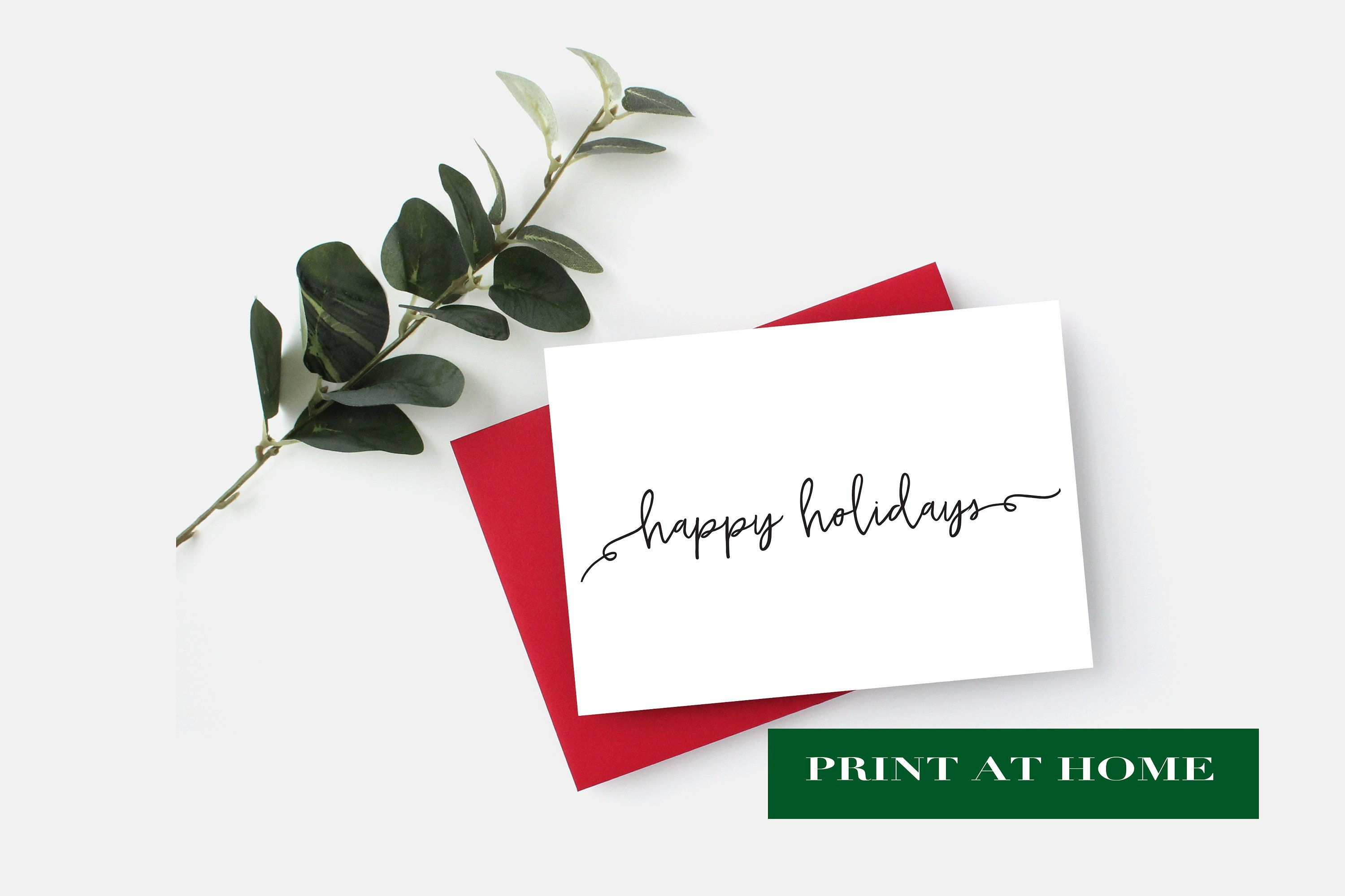 PRINT AT HOME - Happy Holidays Card, Instant Download Christmas Card ...