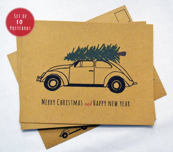 holiday postcards set of 10 merry christmas and happy new year postcards kraft paper postcards merry christmas card set rustic holiday