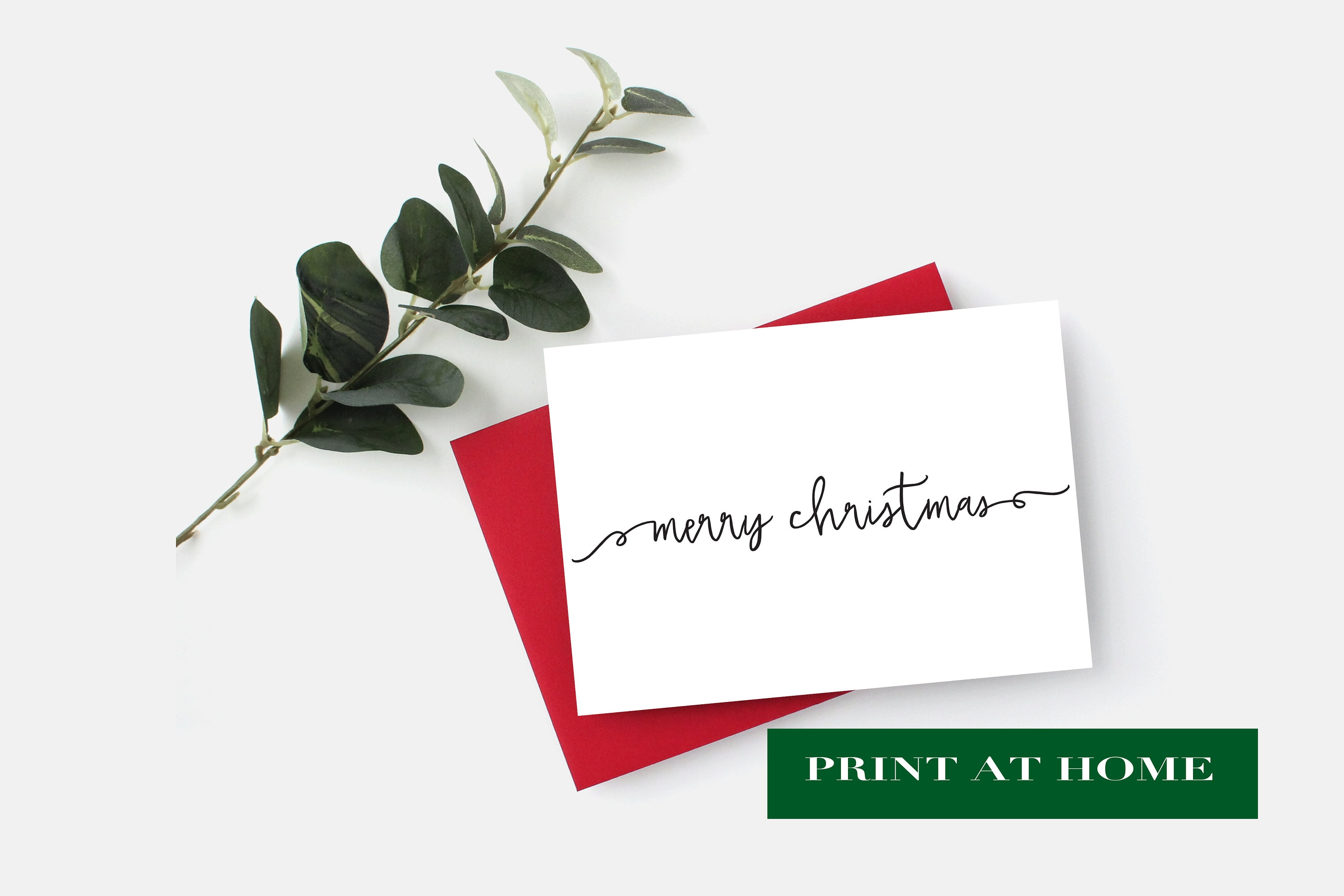 PRINT AT HOME - Merry Christmas Card, Instant Download Christmas ...