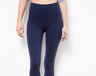 339b102cbe2f06 HIGH WAIST LEGGINGS - Fold over waist Yoga pants - Dance wear - Comfy Home  wear - Fold over Tights -