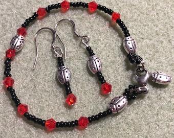 Beaded ladybug charm bracelet