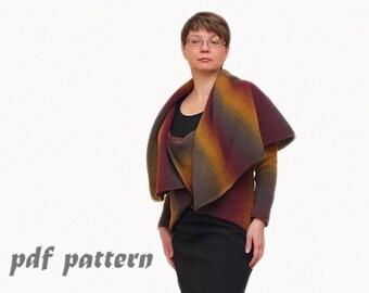 PATTERN Multiwear 3 in 1 wool cardigan Pattern PDF File Instant Download original Sweater Knitting Pattern and Knitting Pattern. PDF