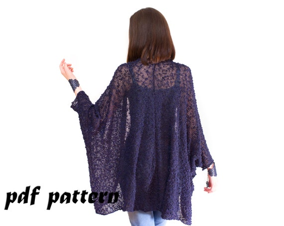 Knitted Shrug Of Boucle Yarn Knitting Pattern Big Shrug Cape Etsy