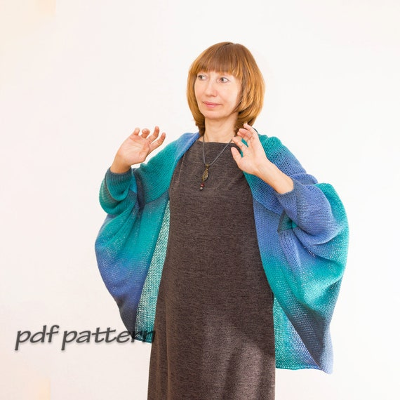 Knitting Pattern Women Cardigan Easy Pattern For Beginner Bat Etsy