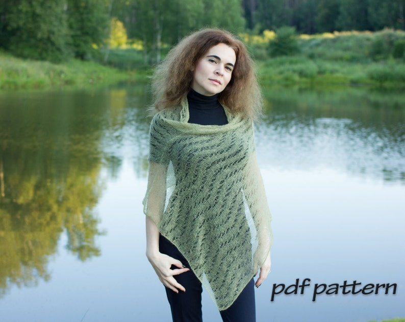 KNITTING PATTERN Perfect poncho Knitted poncho Lace wrap image 0