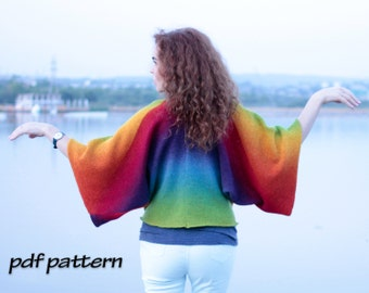 KNITTING PATTERN Hand knitted jacket Knitting pattern Wool cardigan Kimono pattern Wool kimono Knitting cape Rainbow jacket kimono PATTERN