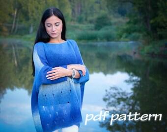 KNITTING PATTERN Mykonos Blue sweater Oversize sweater Plus size sweater Womens sweater Boho sweater Knitted sweater Plus size tunic PATTERN