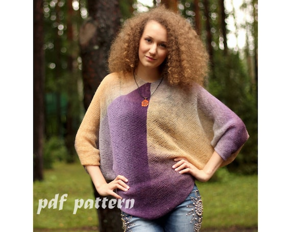 Knitting Pattern Creative Purple And Yellow Wool Knitted Etsy
