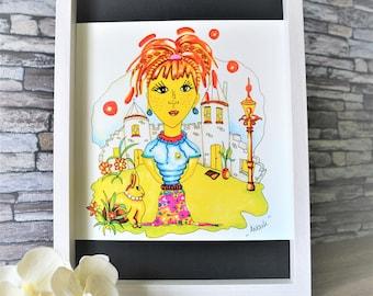 Art Print,Poster,Fine Art Print,Original,Drawing,Illustration,Pencil,Rabbit,Castle,Girls,Handmade,Wallhanging,Homedecor,Wallart,Birthdaygift