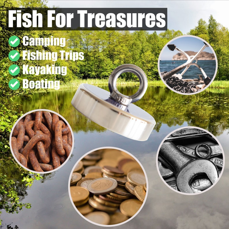 Lift Magnet Set Salvage Recovery Strong Magnet Magnetic Fishing With Rope Treasuring Fishing Treasure Hunting 630LB Fishing Magnet Kit