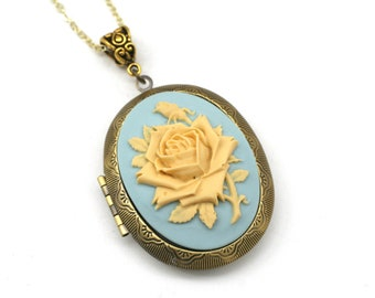 blue cameo necklace gift for her white rose oval brass setting Vintage jewelry Mother/'s day gift cameo jewelry