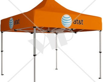 Custom Branded Pop Up Canopy Tents for Events & Tradeshows - Portable Canopies - Pop-Up Awnings with Printed Back Wall -  8 feet x 8 feet