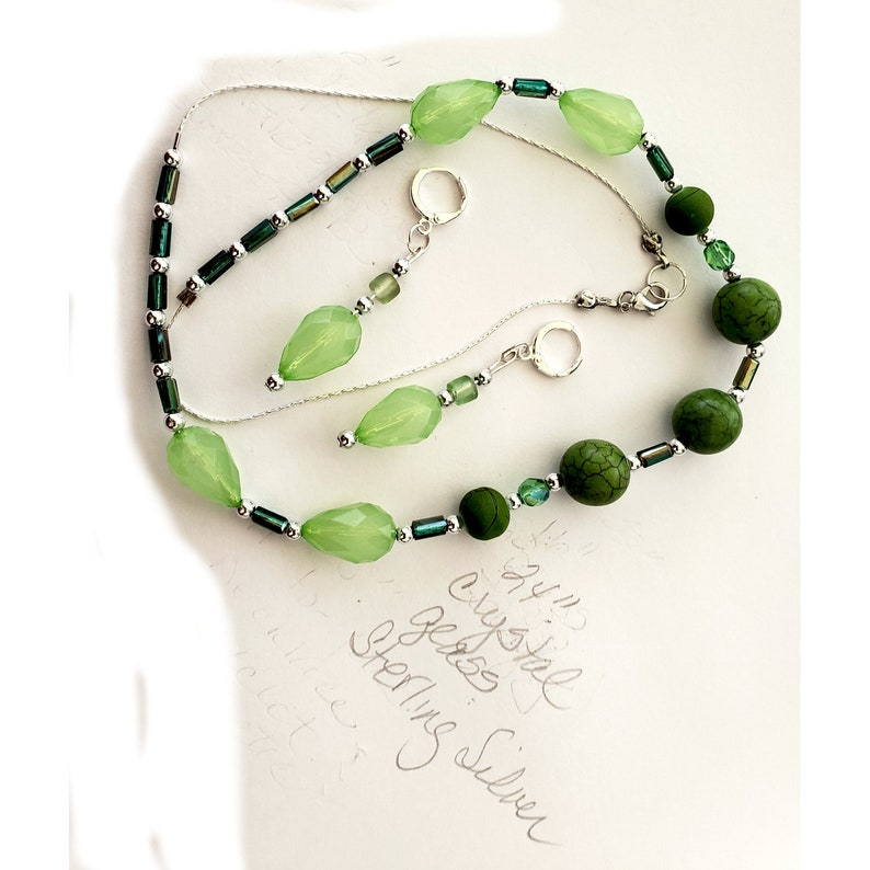 24 inch necklace and earrings with shades of green crystal and image 0