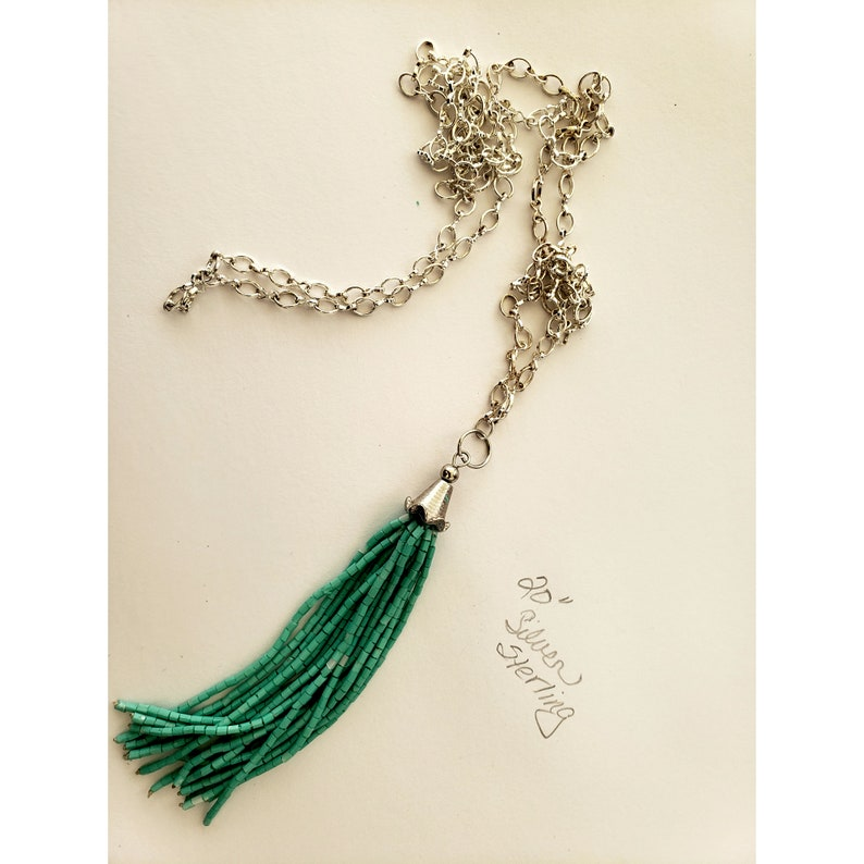 40 inch sterling silver chain with green barrel beads image 0