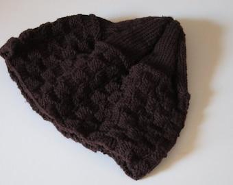 Brown Basket Weave Knit Hat