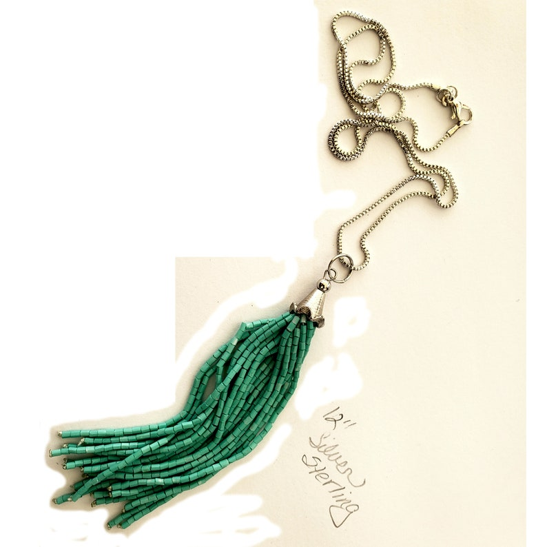 36 inch sterling silver chain with green barrel beads image 0