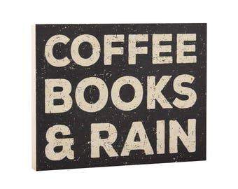 Small Bookshelf Shelf Decor Decoration - Coffee Books and Rain