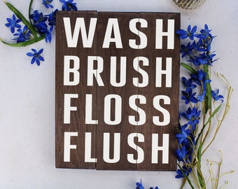 Kids Bathroom Art Wash Brush Floss Flush Bathroom Art Bathroom Sign Rustic Decor Kids Art Bathroom Wall Decor