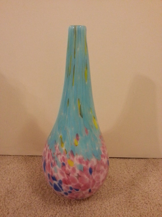 Summery Colored Glass Vase 17 Inches Tall Etsy
