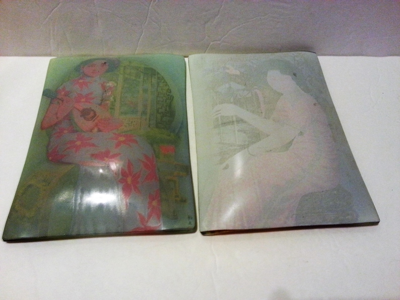 Two Glass Plates with Asian Ladies Design Holiday Sale FREE SHIPPING