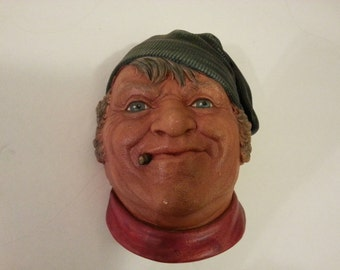 Vintage Head Fisherman Sailor Chalkware - made in England - Wall Hanging