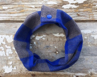 Blue Gray Flannel Baby Scarf Snap Scarf Toddler Scarf with Snaps Baby Bib Scarf Blue Plaid Cotton Scarf Winter Infant Trendy Baby Scarf Cowl