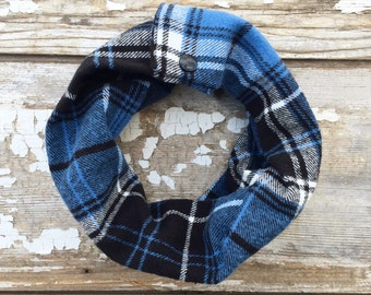 Blue Flannel Baby Scarf Snap Baby Scarf Toddler Scarf with Snaps Baby Bib Scarf Blue Plaid Cotton Scarf Winter Infant Trendy Baby Scarf Cowl