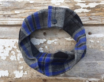 Blue Gray Plaid Baby Scarf Snap Baby Scarf Toddler Scarf with Snaps Baby Bib Scarf Blue Plaid Cotton Scarf Winter Trendy Baby Scarf Cowl