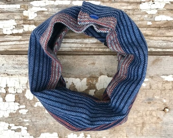 Blue Stripe Baby Scarf Snap Baby Scarf Toddler Scarf with Snaps Baby Bib Scarf Blue Orange Cotton Scarf Winter Infant Trendy Baby Scarf Cowl