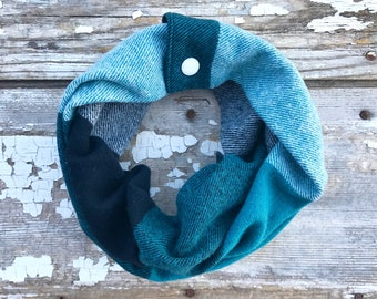 Teal Flannel Baby Scarf Snap Baby Scarf Toddler Fashion Scarf with Snaps Baby Bib Teal Cowl Plaid Cotton Scarf Winter Trendy Baby Scarf Cowl