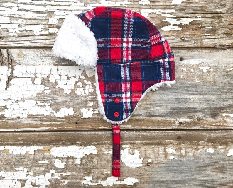 38baa75a4c74b Plaid Trapper Hat Bomber Hat Ear Flap Hat Red Trapper Hat Baby