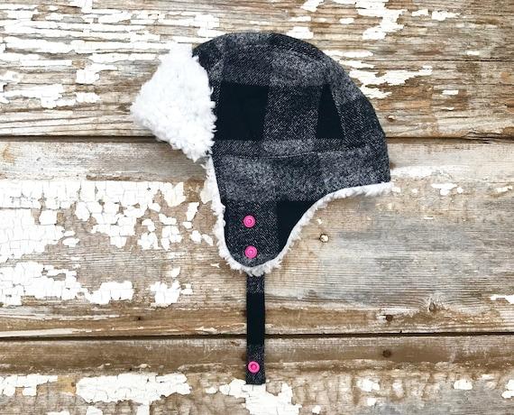 ffa9739a1c33b Trapper Hat Baby Black Bomber Hat Trapper Hat Fur Lumberjack