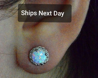 01a7bcbf2 14Kt White Gold Opal & Diamond Round Stud Earrings Dainty Gift For Her  Bridesmaid Bridal Wedding Jewelry