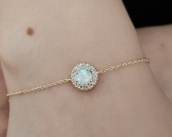 14Kt Gold Opal Bracelet, Opal Gold Bracelet, Opal Halo Bracelet, October Birthstone Bracelet, SHIPS NEXT DAY