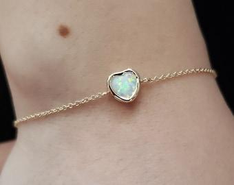 White Opal Rose Gold Bracelet  October Birthstone  Rose gold Bracelet  Delicate Dainty Simple bracelet  Opal gemstone  Gift for her