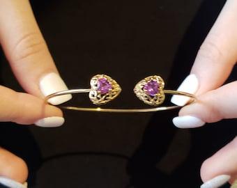 1 Ct Tanzanite /& Diamond Love Engraved Heart Bangle Bracelet Bridesmaid Bridal Wedding Jewelry Fashion 14Kt Yellow Gold Rose Gold Silver