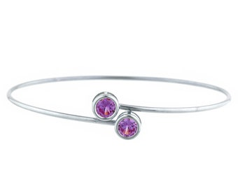 2 Ct Alexandrite Round Bezel Bangle Bracelet .925 Sterling Silver