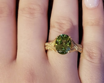 a72ad8d84 3 Ct Peridot & Diamond Oval Design Ring 14Kt Yellow Gold Rose Gold Silver