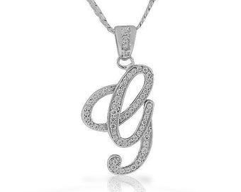 G pendant etsy letter g cursive initial cz pendant 925 sterling silver necklace gift for her jewelry fashion trend aloadofball Image collections