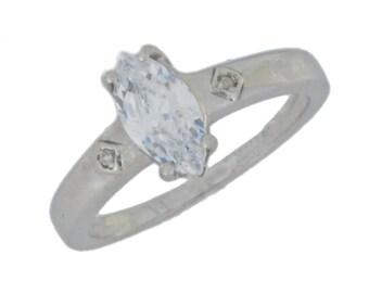 1 Ct Zirconia & Diamond Marquise Ring .925 Sterling Silver Rhodium Finish