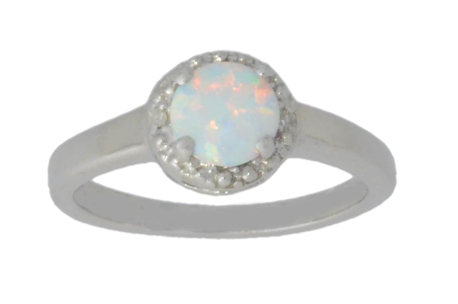 c18473d59603a Opal & Diamond Round Ring .925 Sterling Silver Dainty Gift For Her Jewelry  Fashion Trend