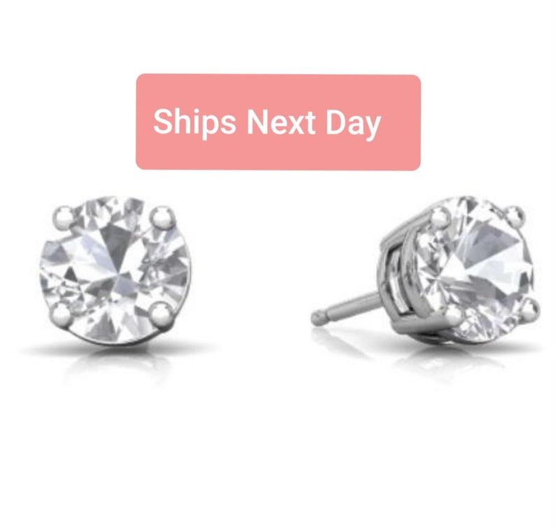 White Gold White Sapphire Round Stud Earrings .925 Sterling Silver Dainty Gift For Her Bridesmaid Bridal Wedding Jewelry