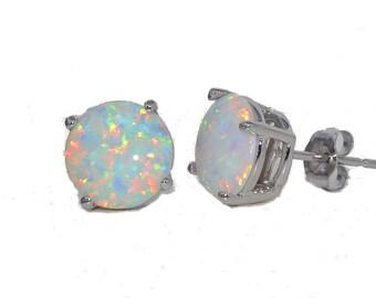 White Gold Quality Opal Stud Earrings
