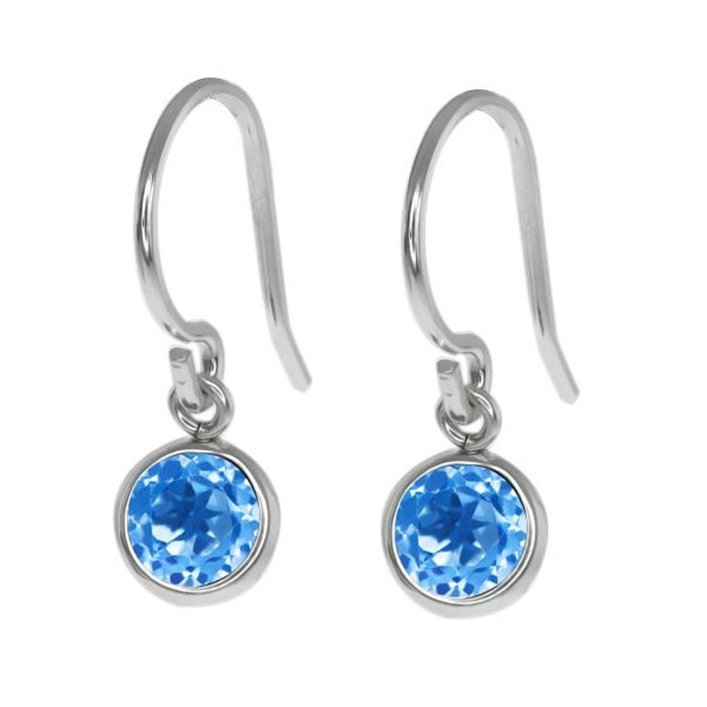 14Kt White Gold Blue Topaz Bezel Round Dangle Earrings Dainty Gift For Her Bridesmaid Bridal Wedding Jewelry