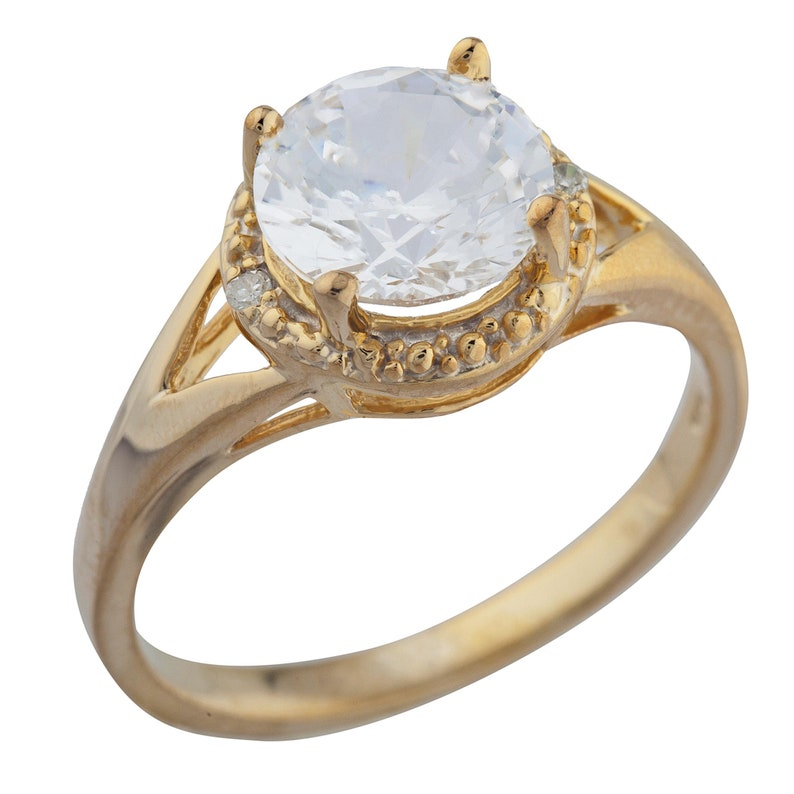 2 Ct White Sapphire /& Diamond Halo Design Round Ring 14Kt Yellow Gold Rose Gold Silver