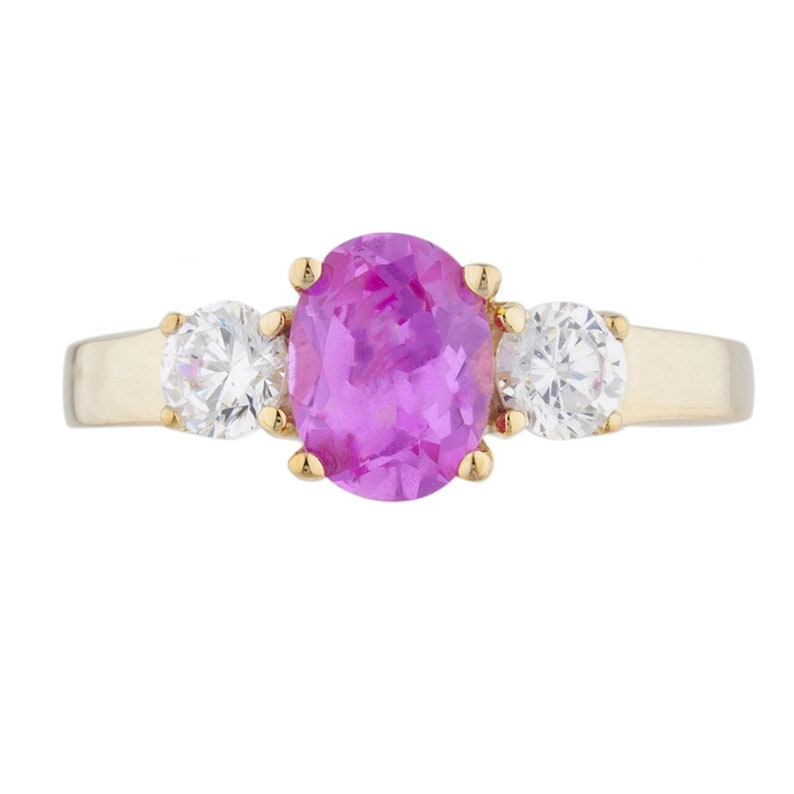 14Kt Gold 2 Ct Pink Sapphire /& Zirconia Oval Round Ring