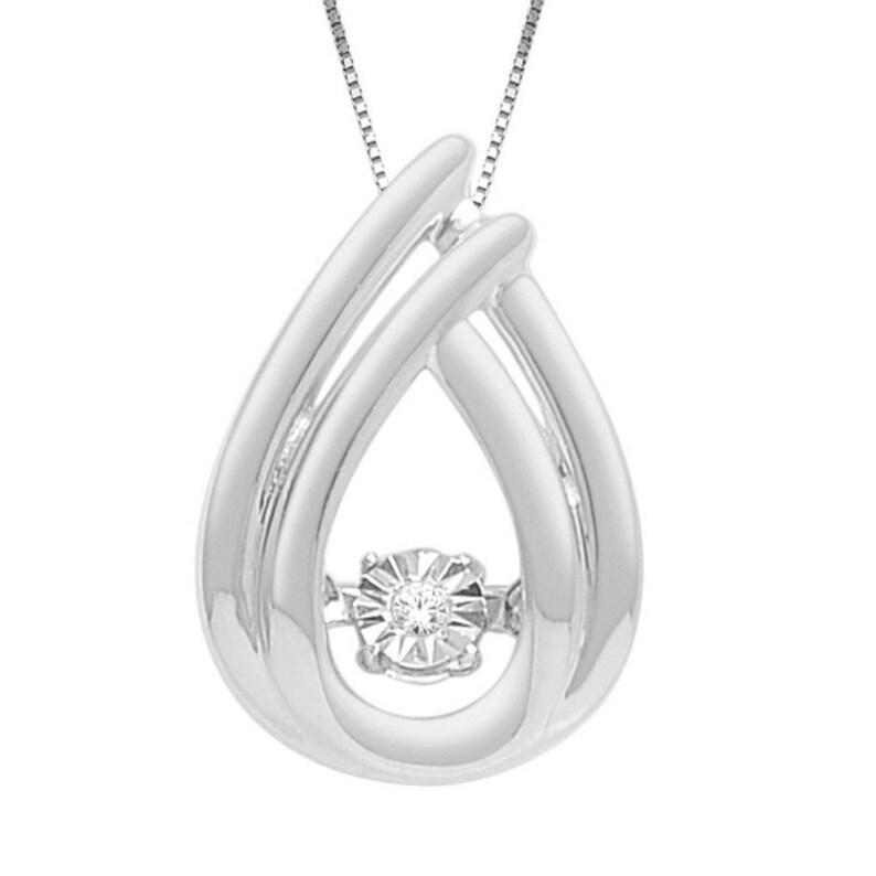 10Kt White Gold Genuine Natural Diamond in Motion Pendant