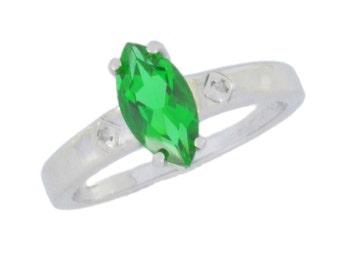1 Ct Emerald & Diamond Marquise Ring .925 Sterling Silver Rhodium Finish