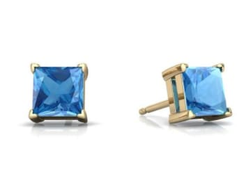14Kt Yellow Gold Blue Topaz Princess Cut Stud Earrings