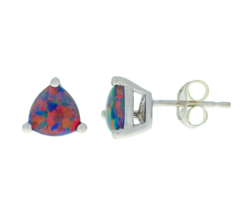 14Kt White Gold Black Opal Trillion Stud Earrings Dainty Gift For Her Bridesmaid Bridal Wedding Jewelry